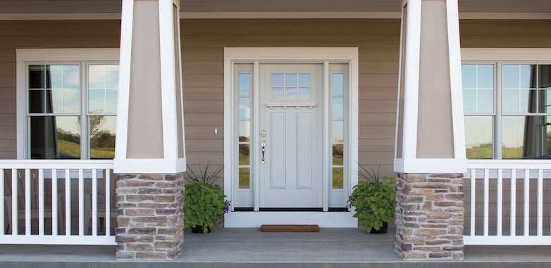 Pella door and windows on a front porch
